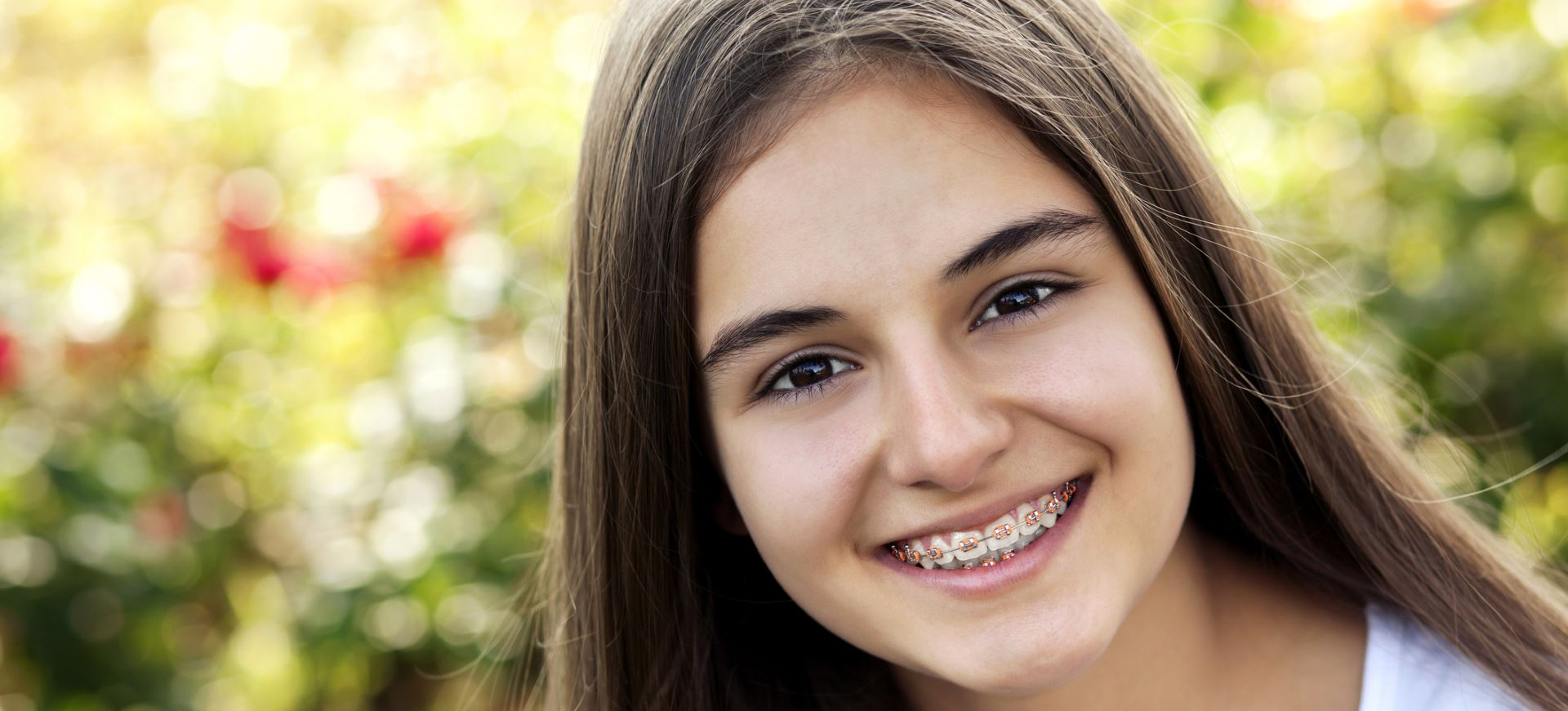 Portrait of a beautiful teenage girl with braces